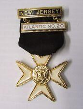 Commandery Knights Templar Maltese Cross Medal ~ Atlantic No.20