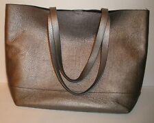 COLE HAAN Gunmetal Metallic Pebbled Leather Tote Bag