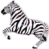 Zebra - Black  White - 26 Foil Balloon - Jungle Party