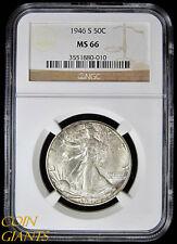 1946-S Walking Liberty Half Dollar NGC MS66 GEM BU San Francisco Mint UNC