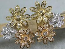 MODERN PAVE DIAMOND 14K WHITE YELLOW ROSE GOLD FLOWER FILIGREE EARRINGS E55911TP