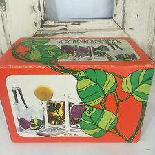 RETRO 70'S Boxed GLASSES CANASTA Ice Bucket Glass SET FLORAL VINTAGE