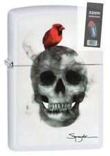 Zippo 29644 Spazuk Skull & Cardinal White Matte Finish Lighter + FLINT PACK