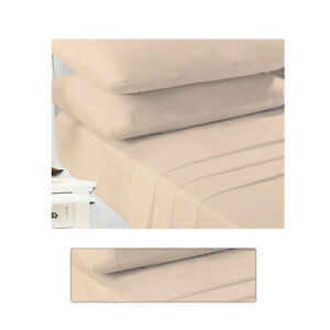 Non Iron Percale Fitted Bed Sheet Extra Deep Poly Cotton Latte Bed Sheets Double