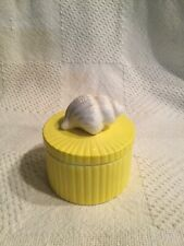 Fitz & Floyd Yellow white shell covered box porcelain handpainted Japan Trinket