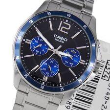 Casio Men's Enticer Stainless Steel Mtp 1374D 2Avdf Black/Blue Face RRP £65