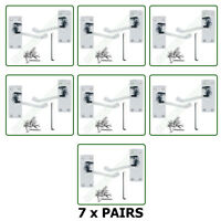Door Handles x 8 Pairs of Victorian Lever Latch Scroll SET Chrome Finish