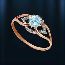 RING mit Topas hellblau, CZ Rotgold russisches Rose Gold 585 Neu Glänzend