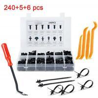 240Pcs Car Body Plastic Push Pin Rivet Fasteners Trim Moulding Clips Screwdriver