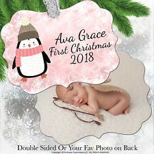 Baby First Christmas Ornament 2018 Baby Girl Pink Penguin Photo Opt Personalized