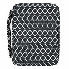 BLACK BIBLE COVER Quatrefoil Pattern Holy Book Pocket Zipper Soft Carry Case