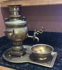 New ListingAntique Russian Brass Samovar with Tray & Bowl