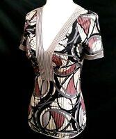 BCBG MAXAZRIA Women's XS Top V Neck Stretch Black Gray Purple Stripe Swirl Print