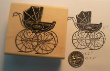 "P11 Baby Carriage Antique Stroller rubber stamp 1.75"" WM"