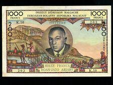 Madagascar:P-56,1000 Francs,1963 * Pres. Tsiranana * RARE * VF *
