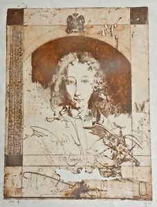 Horst Janssen Etching From Caprice 2, 1980, Signed, Framed Behind Glass. (L8)