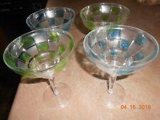 Lot 4 Margarita Glasses Green & Blue frosted Acrylic/Plastic 12 oz. pool glasses