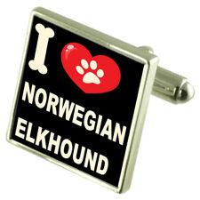I Love My Dog Silver-Tone Cufflinks Norwegian Elkhound
