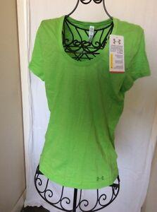 Womens UNDER ARMOUR Heat Gear Featherweight Green Shirt M Medium 1236030 NWT