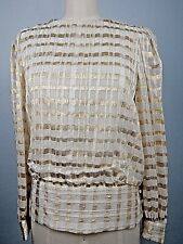 Vintage Rimini Womens Top Evening Wear Lined Gold Ivory Sz M Made USA Union