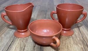 Vintage Retro Orange Milk Glass Tea Coffee Set Creamer Sugar Bowl Cup 3 Pieces