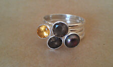 4 Natural Gemstone and Sterling Silver Stackable Rings Size 10