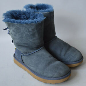 Ladies Ugg S/N 1016225 Navy Blue Bailey Bow Suede Sheepskin Boots Size UK 4.5