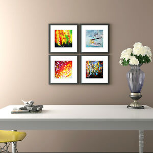 Modern Art. Plexiglass cover with black wooden frame. Special Offer Set of 4