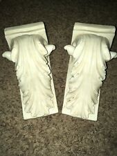 Beautiful Set Of Distressed White Ornate Wall Sconces Shelves Vintage Antique