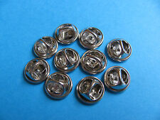 10, Pin Badge Butterfly Backs / Fixings / Clutch / Clasp / Clip SILVER Coloured.