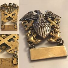 WWII ERA US NAVY EAGLE & ANCHOR STERLING SILVER INSIGNIA