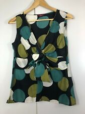 MONSOON Size 12 SILK Navy Blue Green Cream Dots Womens Party Cocktail Top Blouse