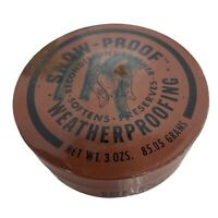 NEW Vintage Advertising Tin SNOW PROOF WEATHERPROOFING Leather LIVONIA NEW YORK