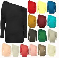 NEW LADIES BATWING TOP LONG SLEEVES OFF SHOULDER BAGGY SLOUCH PLUS SIZE 8-26