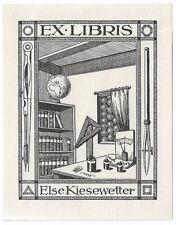 RUDOLF ENGELHARDT: Exlibris für Else Kiesewetter; Zirkel, Magnet, Batterie, 1913
