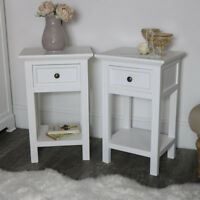 Pair slim white bedside occasional table set white bedroom living room furniture