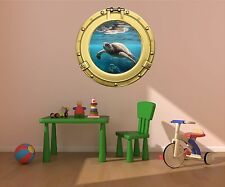 "36"" Porthole Sea Window View TURTLE #1 BRASS Wall Decal Graphic Art Sticker NEW"
