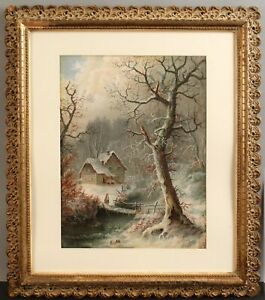 Antique c1900 Pastel Drawing Winter Snow Landscape Country Cottage Home NR