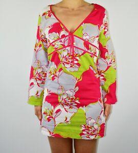Ted Baker Kaftan Dress Mini Floral Holiday Spring Summer Size 1 UK 8 10  AM
