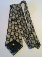Countess Mara Men's Tie 100% Silk Black Silver Grey Gray Geometric Neck Circles