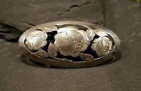 Große 900 Silber Brosche Jugendstil Art Deco Handarbeit Blumen Floral Rosen Chic