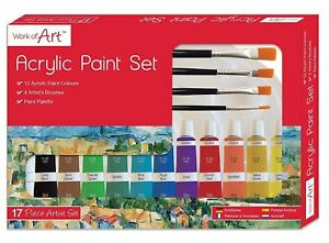 Acrylic Paint Set Paint Tube Palette Brush Kids Art Craft School Stationery Set