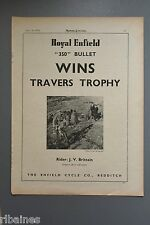R&L Ex-Mag Advert: Royal Enfield 350 Bullet, Travers Trophy, J. V Brittain