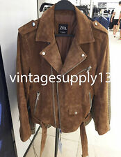 Zara New Man Leather Peccary Biker Jacket Camel Brown M,L,Xl 8281/303