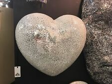 Crackle Glass Silver Mirror Love Heart Relief Wall Hanging 45 x 51 x 21 cm
