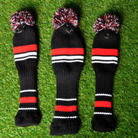 3PCS Knitting Sock Golf Club Cover Pom Woolen Sleeve Golf Accessory GO9X
