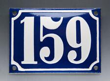 EMAILLE, EMAIL-HAUSNUMMER 159 in BLAU/WEISS um 1950