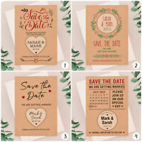 PERSONALISED Rustic Kraft Save The Date Cards Wooden Heart Fridge Magnets Boho
