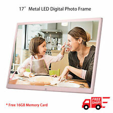 "17"" LED Digital Photo Metal Frame Electronic Picture Album Remote 16GB SD Card"