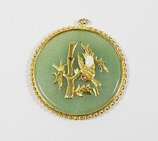 Jade Pendant Asian Design Large Gold Tone
